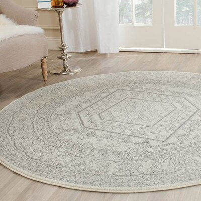 Sirena Ivory/Silver Area Rug Rug Size: Round 6