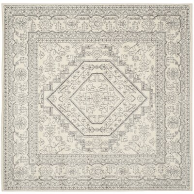 Sirena Ivory/Silver Area Rug Rug Size: Square 6