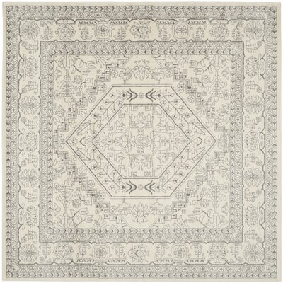 Glover Contemporary Ivory/Silver Area Rug Rug Size: Square 4