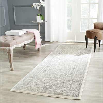 Sirena Ivory/Silver Area Rug Rug Size: Runner 26 x 22