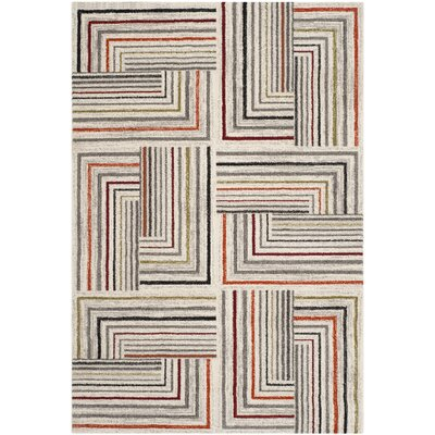 Sirmans Ivory/Grey Area Rug Rug Size: 53 x 77