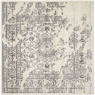 Sisemore Ivory/Silver Area Rug Rug Size: Square 8