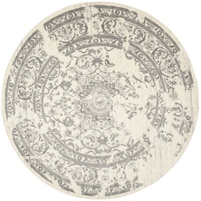 Glover Ivory/Silver Area Rug Rug Size: Round 10
