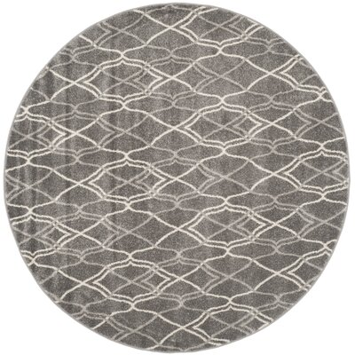 Ajax Grey/Light Grey Outdoor Area Rug Rug Size: Round 5