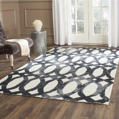 Edie Hand Tufted Ivory/Graphite Area Rug Rug Size: Rectangle 5 x 8