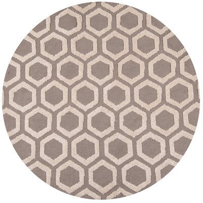 Richie Hand-Tufted Taupe Area Rug Rug Size: Round 4 x 4