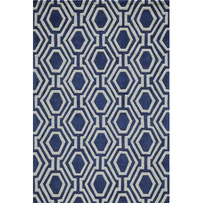 Wills Hand-Tufted Navy Area Rug Rug Size: 36 x 56