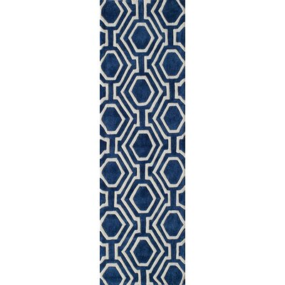 Wills Hand-Tufted Navy Area Rug Rug Size: Runner 23 x 8