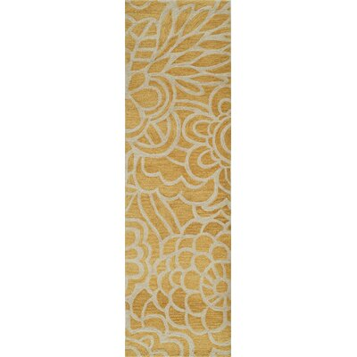 Rhea Hand-Tufted Yellow Area Rug Rug Size: Runner 23 x 8
