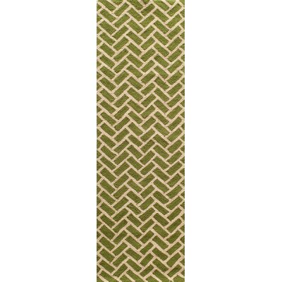 Trent Hand-Hooked Green Area Rug Rug Size: Runner 23 x 76