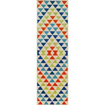 Wexler Hand-Woven Blue/Green/Red Indoor/Outdoor Area Rug Rug Size: Runner 23 x 76