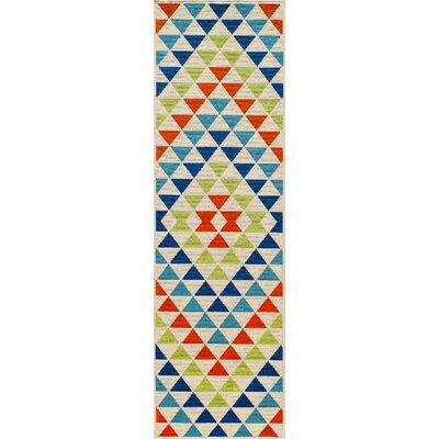 Wexler Hand-Woven Blue/Green/Red Indoor/Outdoor Area Rug Rug Size: 23 x 46
