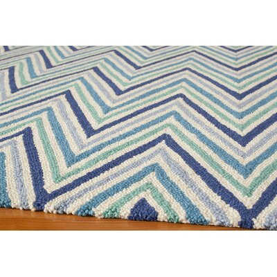 Trent Hand-Hooked Blue Area Rug Rug Size: 5 x 7