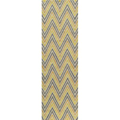Trent Hand-Hooked Gold Area Rug Rug Size: Runner 23 x 76