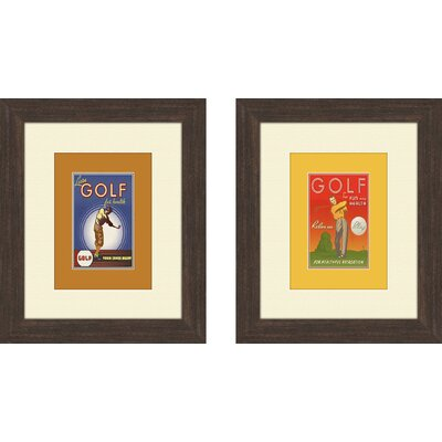 Golf 2 Piece Framed Vintage Advertisement Set