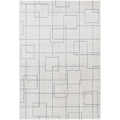 Mcdowell White/Gray Area Rug Rug Size: 53 x 76