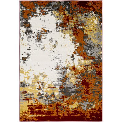 Shuff Charcoal/Orange Area Rug Rug Size: 2 x 3