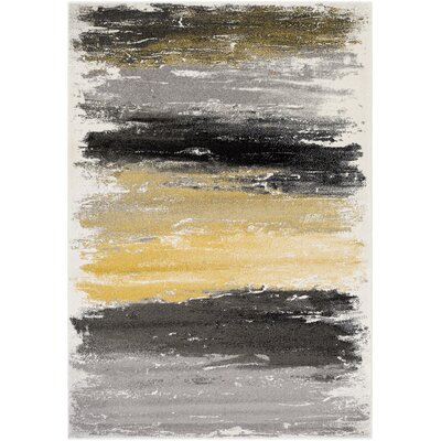 Shuff Gray/Yellow Area Rug Rug Size: Rectangle 53 x 76