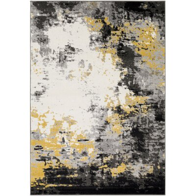 Shuff Charcoal/Mustard Yellow/Gray Area Rug Rug Size: 2 x 3