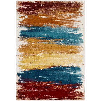 Shuff Blue/Orange Area Rug Rug Size: Rectangle 53 x 76