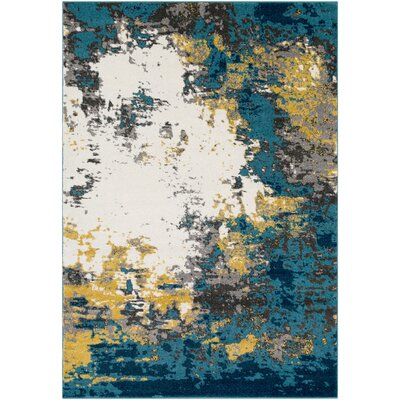Shuff Blue/Yellow Area Rug Rug Size: Rectangle 53 x 76
