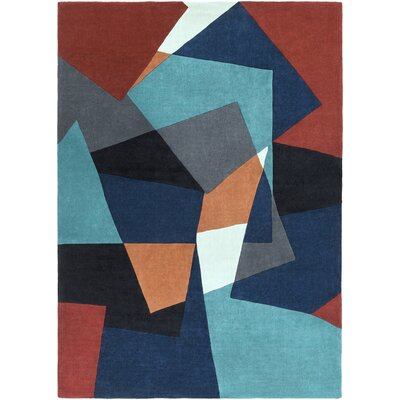 Conroy Teal/Midnight Blue Rug Rug Size: Rectangle 3'6