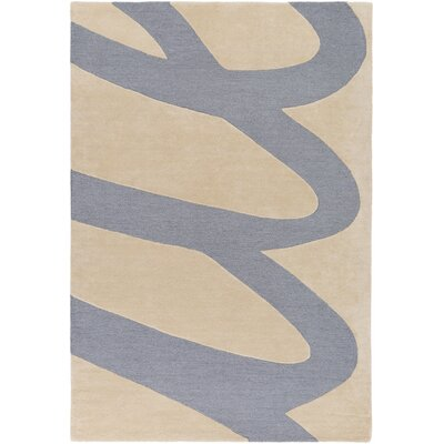 Nida Hand-Tufted Neutral/Blue Area Rug Rug Size: 2 x 3