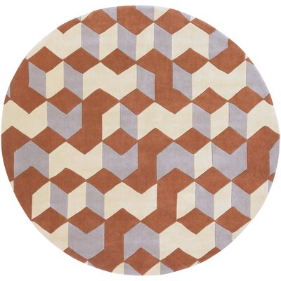 Conroy Hand-Tufted Orange/Yellow Area Rug Rug Size: Round 8