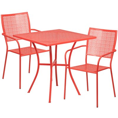 Austral 3 Piece Bistro Set Finish: Coral