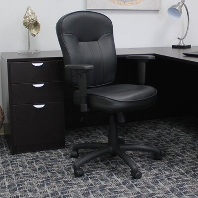 Passyunk High-Back Leather Desk Chair Arms: Adjustable Arms