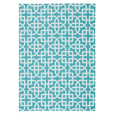 Sheedy Aqua Indoor/Outdoor Area Rug Rug Size: 53 x 75