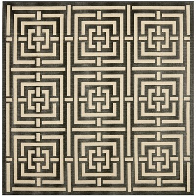 Schafer Abstract Black Indoor/Outdoor Area Rug Rug Size: Square 67
