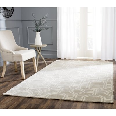 Schaub Hand-Tufted Gray/Ivory Area Rug Rug Size: Rectangle 76 x 96