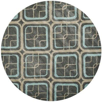 Schaub Hand-Tufted Gray/Beige Area Rug Rug Size: Round 6
