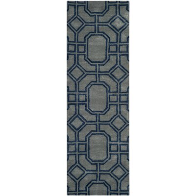 Schaub Hand-Tufted Gray/Dark Blue Area Rug Rug Size: Runner 26 x 8