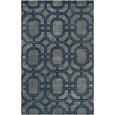 Schaub Hand-Tufted Gray/Dark Blue Area Rug Rug Size: Rectangle 76 x 96
