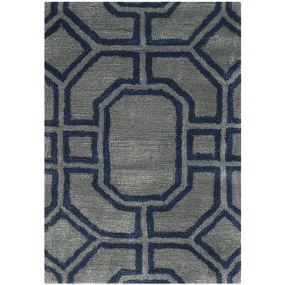 Schaub Hand-Tufted Gray/Dark Blue Area Rug Rug Size: Rectangle 36 x 56