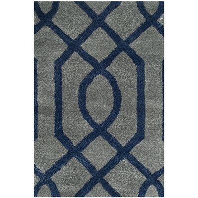 Schaub Hand-Tufted Gray/Dark Blue Area Rug Rug Size: Rectangle 5 x 8