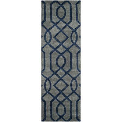Schaub Grey/Dark Blue Rug Rug Size: Runner 26 x 8