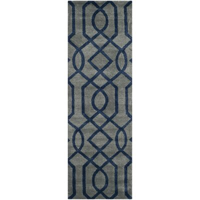 Schaub Hand-Tufted Gray/Dark Blue Area Rug Rug Size: Runner 26 x 10