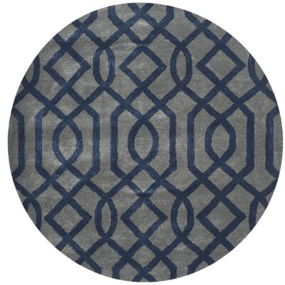 Schaub Hand-Tufted Gray/Dark Blue Area Rug Rug Size: Round 6
