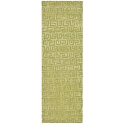 Schaub Hand-Tufted Green Area Rug Rug Size: Runner 26 x 10
