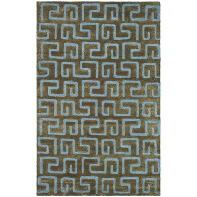 Schaub Hand-Tufted Brown/Light blue Area Rug Rug Size: Rectangle 96 x 136