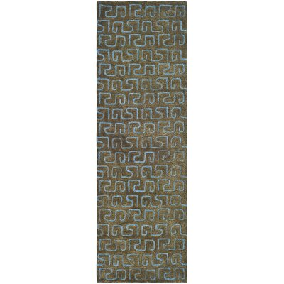 Schaub Hand-Tufted Brown/Light blue Area Rug Rug Size: Runner 26 x 10