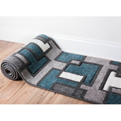 Scheel Squares Blue Area Rug Rug Size: Rectangle 53 x 73