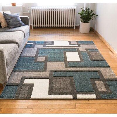 Scheel Squares Blue Area Rug Rug Size: 92 x 126