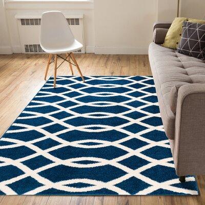Rubino Poofy Blue And White Area Rug Rug Size: 710 x 910