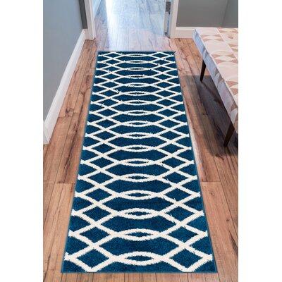 Rubino Poofy Blue And White Area Rug Rug Size: Runner 2 x 73