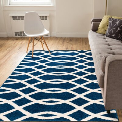 Rubino Poofy Blue And White Area Rug Rug Size: 33 x 5