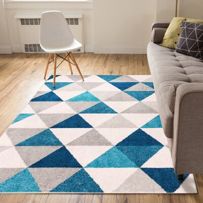 Ikin Blue/Gray Area Rug Rug Size: 5 x 7